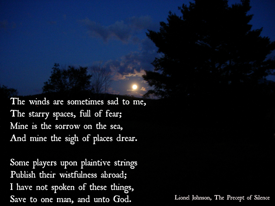 The poem The Precept of Silence, by Lonel Johnson. Photo by blog author.